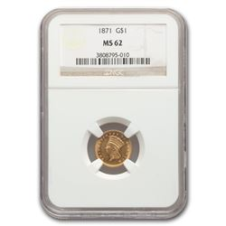 1871 $1 Indian Head Gold MS-62 NGC
