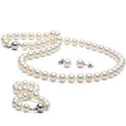 White Akoya Pearl 3-Piece Jewelry Set, 7.0-7.5mm