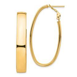 14k Yellow Gold Oval Omega Back Hoop Earrings - 7x22 mm