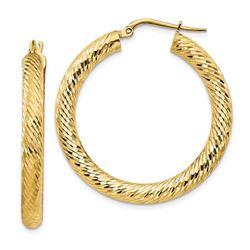 14k Yellow Gold Diamond-cut Round Hoop Earrings - 4x25 mm