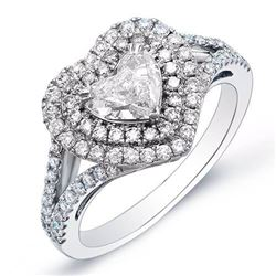 Natural 3.04 CTW Heart Brilliant Cut Diamond Engagement Ring 18KT White Gold