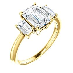 Natural 2.62 CTW 3-Stone Emerald Cut Diamond Engagement Ring 18KT Yellow Gold