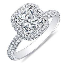 Natural 3.02 CTW Princess Cut Micro Pave Halo Diamond Ring 18KT White Gold