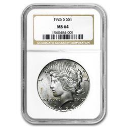 1926-S Peace Dollar MS-64 NGC