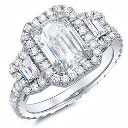 Natural 3.12 CTW Halo Emerald Cut & Trapezoids Diamond Engagement Ring 14KT White Gold