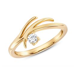 Natural 0.22 CTW Rose Tier Diamond Ring 18KT Yellow Gold