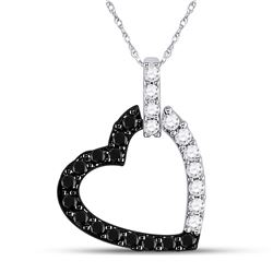14kt White Gold Womens Round Black Color Enhanced Diamond Heart Pendant 1/4 Cttw