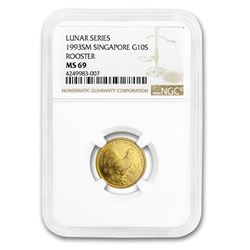 1993 Singapore 1/10 oz Gold 10 Singold Rooster MS-69 NGC