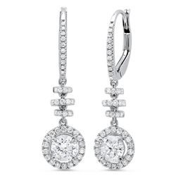 Natural 1.06 CTW Dangling U-Pave Lever Back Halo Round Cut Diamond Earrings 14KT White Gold