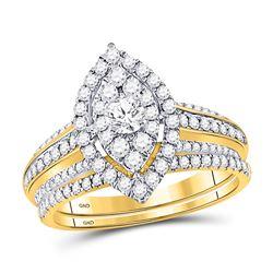 14kt Yellow Gold Round Diamond Bridal Wedding Ring Band Set 1 Cttw