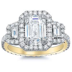 Natural 3.12 CTW Halo Emerald Cut & Trapezoids Diamond Engagement Ring 14KT Yellow Gold