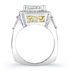 Natural 2.75 CTW Radiant Cut Diamond Engagement Ring 18KT Two Tone