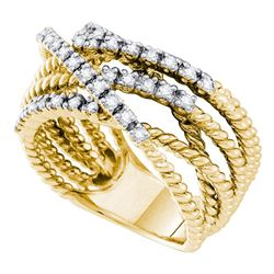 14kt Yellow Gold Womens Round Diamond Rope Strand Band Ring 3/8 Cttw