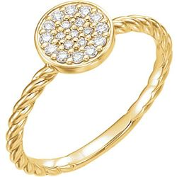 Natural 0.19 CTW Diamond Cluster Rope Promise Ring 18KT Yellow Gold
