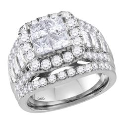 14kt White Gold Princess Diamond Cluster Halo Bridal Wedding Engagement Ring 3 Cttw