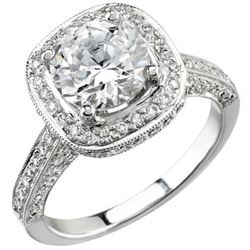 Natural 3.52 CTW Round Cut Square Halo Diamond Engagement Ring 18KT White Gold