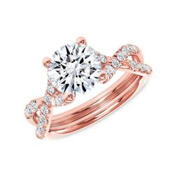 Natural 1.62 CTW Round Brilliant Cut Infinity Shank Diamond Engagement Ring 14KT Rose Gold