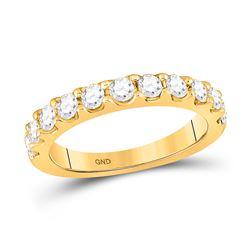 14kt Yellow Gold Womens Round Diamond Wedding Single Row Band 7/8 Cttw