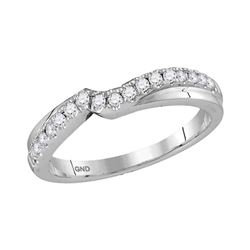 14kt White Gold Womens Round Diamond Contour Wrap Enhancer Wedding Band 1/4 Cttw