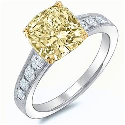 Natural 2.12 CTW Canary Yellow Cushion Cut Diamond Solitaire 18KT White Gold