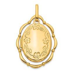 14k Yellow Gold Dancing 24 mm Oval Locket Pendant