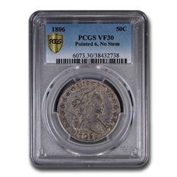 1806 Draped Bust Half Dollar Pointed 6, No Stem VF-30 PCGS