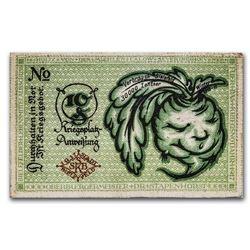 1917 Notgeld Bielefeld 10 Pfennig Silk Money AU (Green)