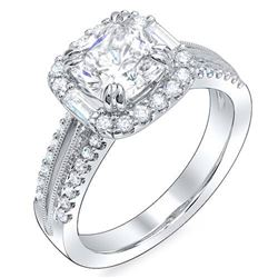Natural 2.82 CTW Halo Square Cushion Cut & Baguettes Diamond Engagement Ring 14KT White Gold
