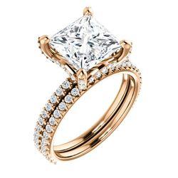 Natural 4.02 CTW Under-Halo Princess Cut Diamond Ring 18KT Rose Gold