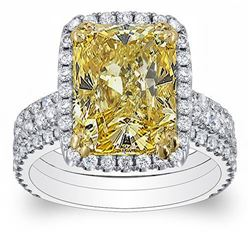 Natural 4.37 CTW Canary Yellow Radiant Cut Diamond Engagement Ring 14KT Two-tone