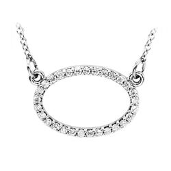 Natural 0.15 CTW Oval Diamond Pendant Necklace 18KT White Gold