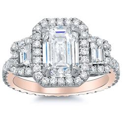 Natural 4.12 CTW Halo Emerald Cut & Trapezoids Diamond Ring 14KT Rose Gold