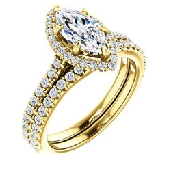 Natural 2.62 CTW Halo Marquise Cut Diamond Ring 14KT Yellow Gold