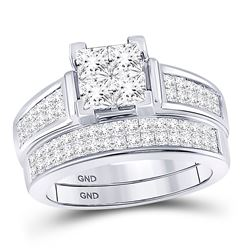 14kt White Gold Princess Diamond Bridal Wedding Ring Band Set 2 Cttw