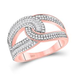 14kt Rose Gold Womens Baguette Diamond Intertwined Band Ring 3/4 Cttw