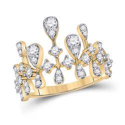 14kt Yellow Gold Womens Round Diamond Fashion Ring 7/8 Cttw