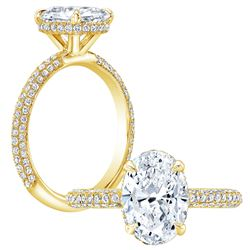 Natural 1.37 CTW Oval Cut 3-Row Pave Under-Halo Diamond Engagement Ring 18KT Yellow Gold