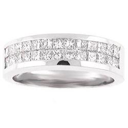 Natural 2.37 CTW Men's Princess Cut Diamond Wedding Band 18KT White Gold