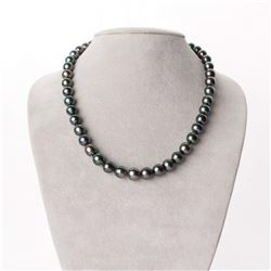 """Green, Rose and Peacock Baroque Tahitian Pearl Necklace, 18"""", 7.8-10.1mm, AA+/AAA Quality"""