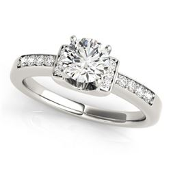 Natural 1.11 ctw Diamond SolitaireRing 14k White Gold