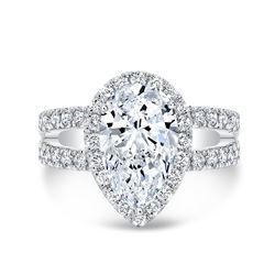 Natural 1.92 CTW Pear Cut Split Shank Diamond Engagement Ring 18KT White Gold