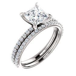 Natural 1.72 CTW Princess Cut Diamond Engagement Set 14KT White Gold