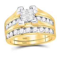 14kt Yellow Gold Princess Diamond Bridal Wedding Ring Band Set 1-1/2 Cttw