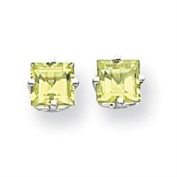 14k White Gold 5 mm Square Step Cut Peridot Earrings