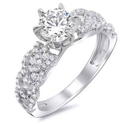 Natural 3.64 CTW Round Brilliant Cut Diamond Trellis Shank Engagement Ring 18KT White Gold