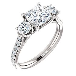 Natural 1.72 CTW 3-Stone princess Cut & Rounds Diamond Ring 18KT White Gold