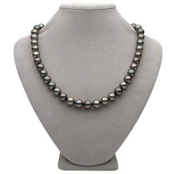 "Subtle Peacock and Steel Round Tahitian Pearl Necklace, 18"", 8.9-10.9mm, AA+/AAA Quality"