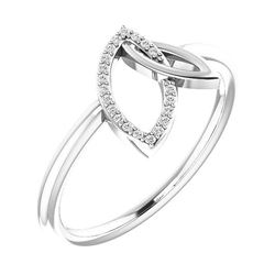 Natural 0.06 CTW Double Leaf Diamond Ring 18KT White Gold