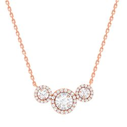 Natural 0.87 CTW Halo Diamond Trio Necklace 18KT Rose Gold