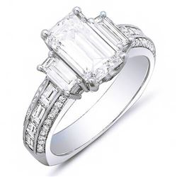 Natural 2.92 CTW Emerald Cut & Baguettes Diamond Engagement Ring 18KT White Gold